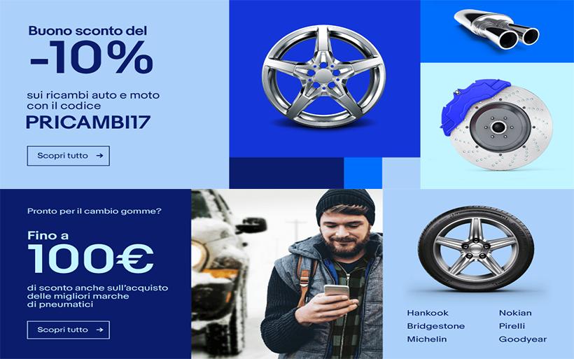 Promozione eBay: 10% di sconto su ricambi auto e moto!