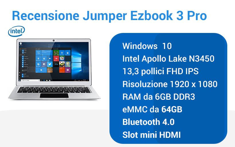 Recensione notebook Jumper Ezbook 3 PRO