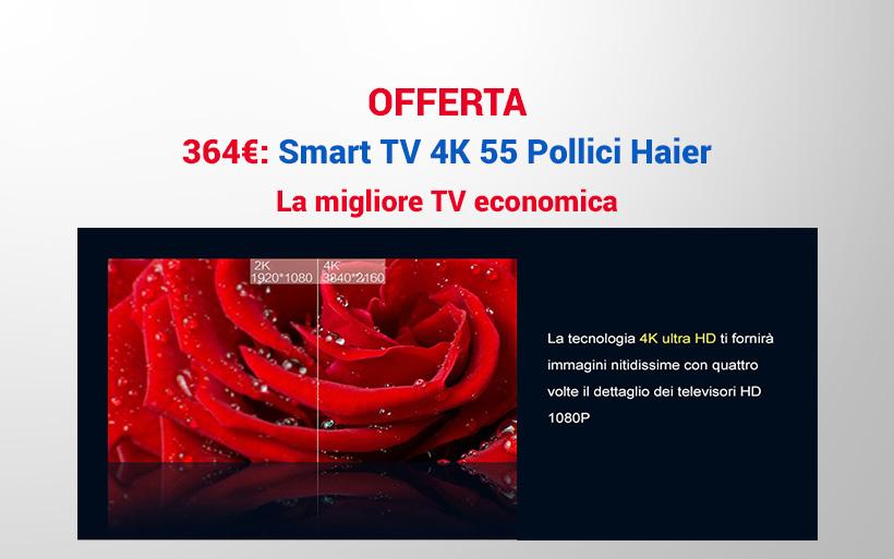 Smart TV 4k da 55 pollici a 364€ in offerta fino al 25 Dicembre
