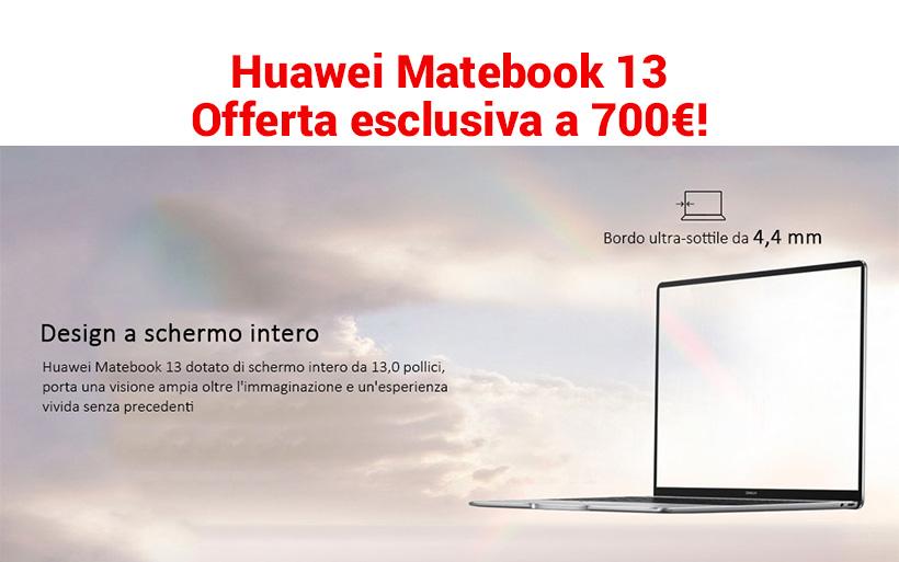 Huawei Matebook 13 a 707.99€ in offerta, Intel i5 8GB ram e 256GB ssd