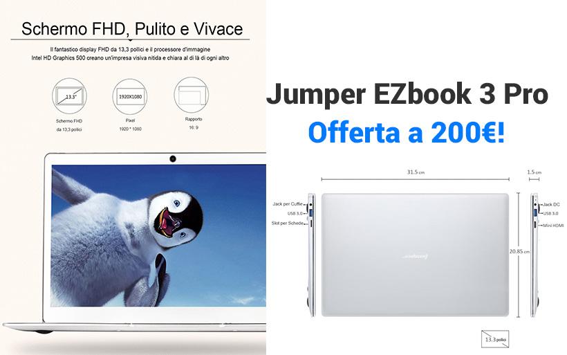 Jumper EZBook 3 Pro a 212.40€ in offerta, tastiera italiana
