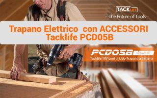 Tacklife PCD05B Trapano Avvitatore 18V con 2 batterie e accessori