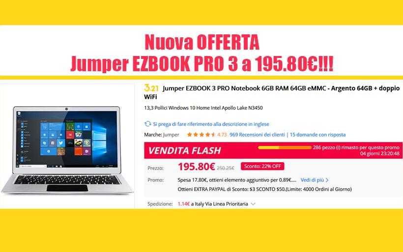 Jumper EZBOOK Pro 3 nuova offerta a 195€ su Gearbest