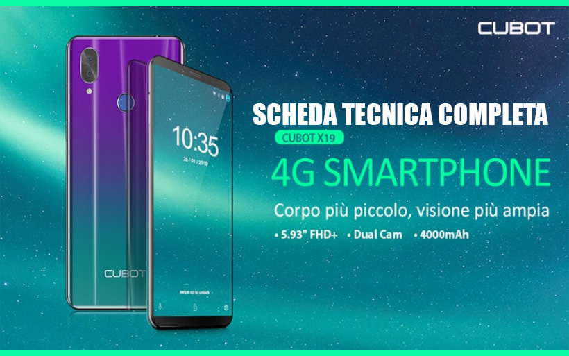 Scheda tecnica CUBOT X19, smartphone android a 100€
