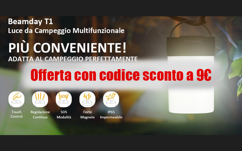 Codice sconto Lampada da Campeggio dimmerabile IP65 a 9€