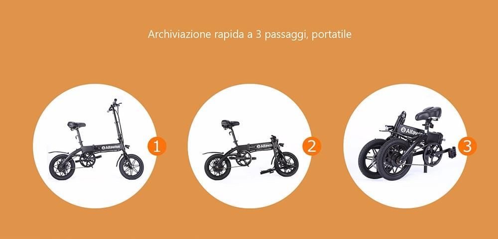 Bicicletta Elettrica Pieghevole E-bike 386€, Alfawise X1 Offerta