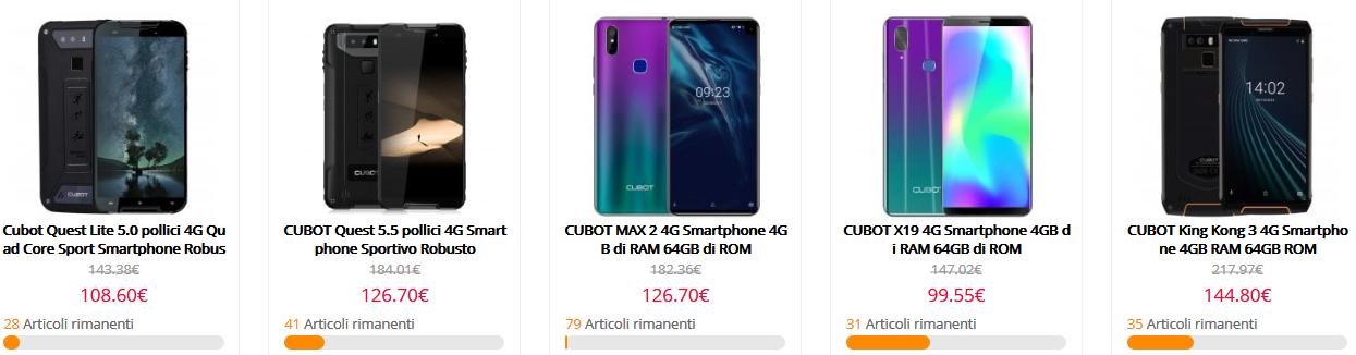 Offerta Smartphone CUBOT -10% sui migliori modelli, negozio UFFICIALE