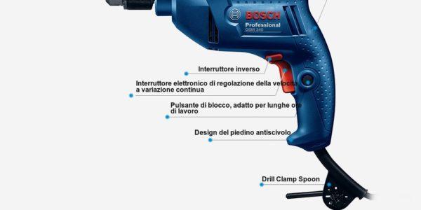 trapano-Bosch-GBM340-5-600x300 Trapano Bosh Professional in Offerta a 45€, 340w velocità regolabile