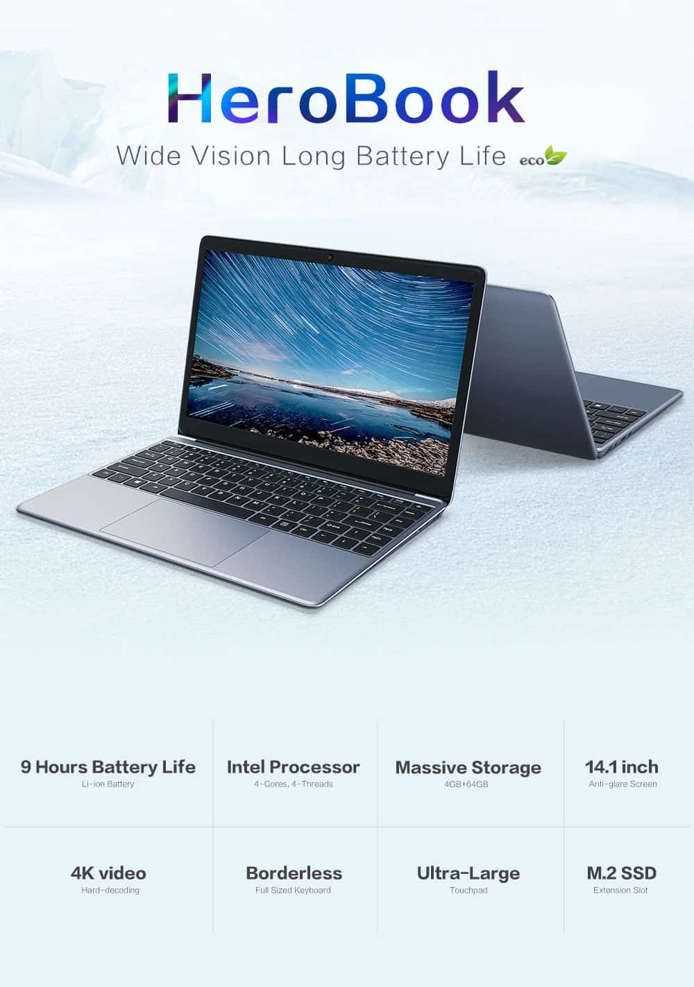 Offerta CHUWI HeroBook, ultrabook cinese da 14,1 pollici, 4GB di ram