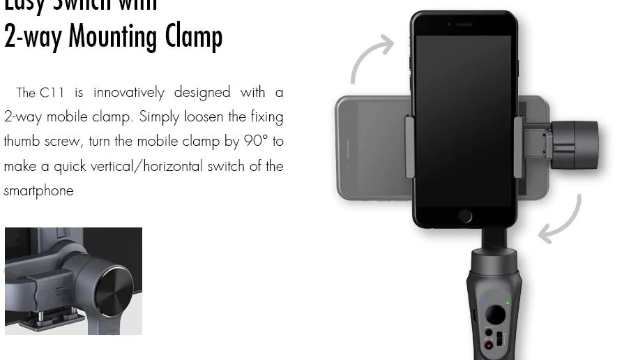 CINEPEER-C11-2 Offerta CINEPEER C11 a 80€, il nuovo stabilizzatore per Smartphone Android iOS