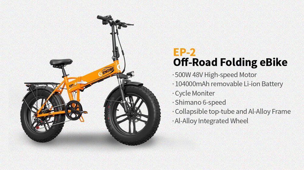 Offerta ENGWE EP-2 a 641€, la migliore FAT Bike da 500W, bici elettrica Pieghevole