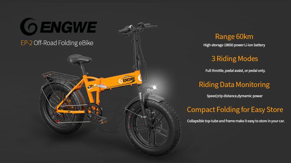 Codice Sconto ENGWE EP-2 a 764€, la fat bike pieghevole da 500W