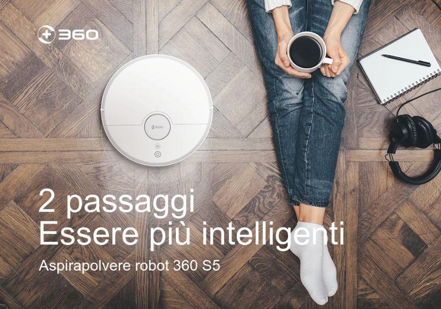 Offerta 360 S5 a 237€, il Robot Aspirapolvere economico per Casa con App