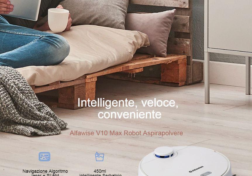 Codice Sconto Alfawise V10 Max a 210€, Aspirapolvere Robot più Venduto