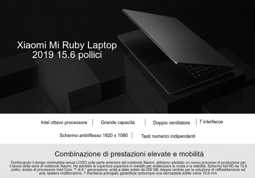 Codice Sconto Xiaomi Mi Ruby a 754€, Notebook per Gaming e Grafica