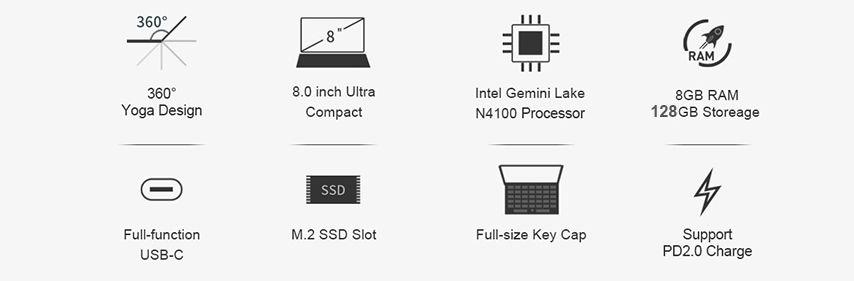 Offerta-CHUWI-MiniBook-360-4 Offerta CHUWI MiniBook 360 a 388€, il mini Notebook da 8 Pollici