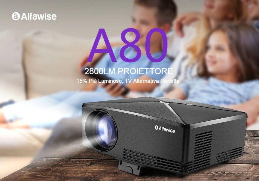 Codice Sconto Alfawise A80 a 76€, proiettore 180 pollici