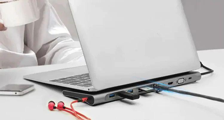 Miglior Hub Tipo-C per Notebook Gocomma 11 in 1, con USB e RJ45