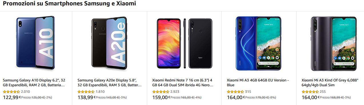 Offerta Amazon Smartphone Samsung e Xiaomi da 122€, Febbraio 2020