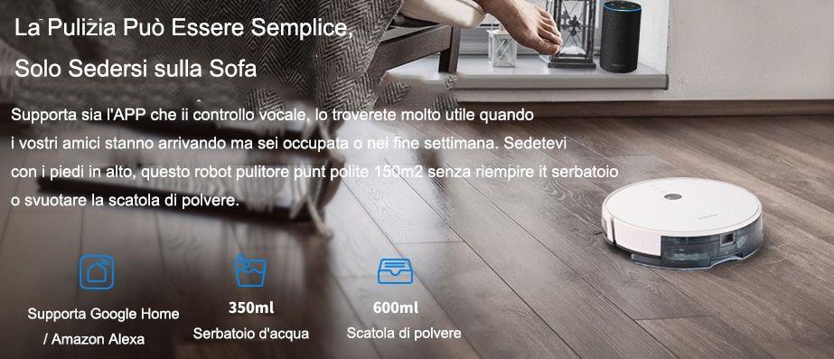 Offerta Alfawise V8S PRO a 156€, Aspirapolvere Robot con Google Home e Alexa