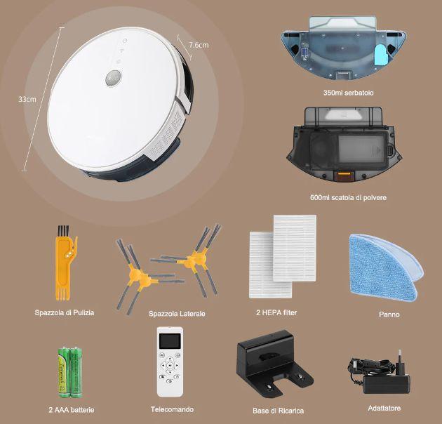 Offerta-Alfawise-V8S-PRO-a-156%E2%82%AC-2 Offerta Alfawise V8S PRO a 156€, Aspirapolvere Robot con Google Home e Alexa