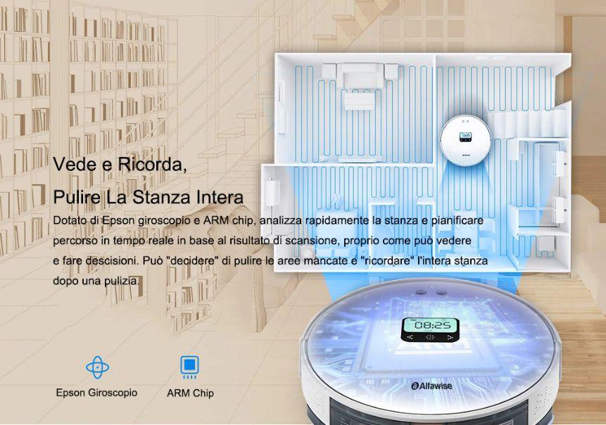 Offerta-Alfawise-V8S-PRO-a-156%E2%82%AC-4 Offerta Alfawise V8S PRO a 156€, Aspirapolvere Robot con Google Home e Alexa