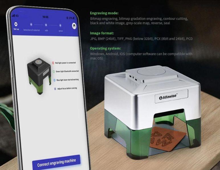 Incisore-laser-wireless-Alfawise-C50-Mini-1 Incisore laser wireless Alfawise C50 Mini: ideale per il fai da te, Dettagli e Offerte