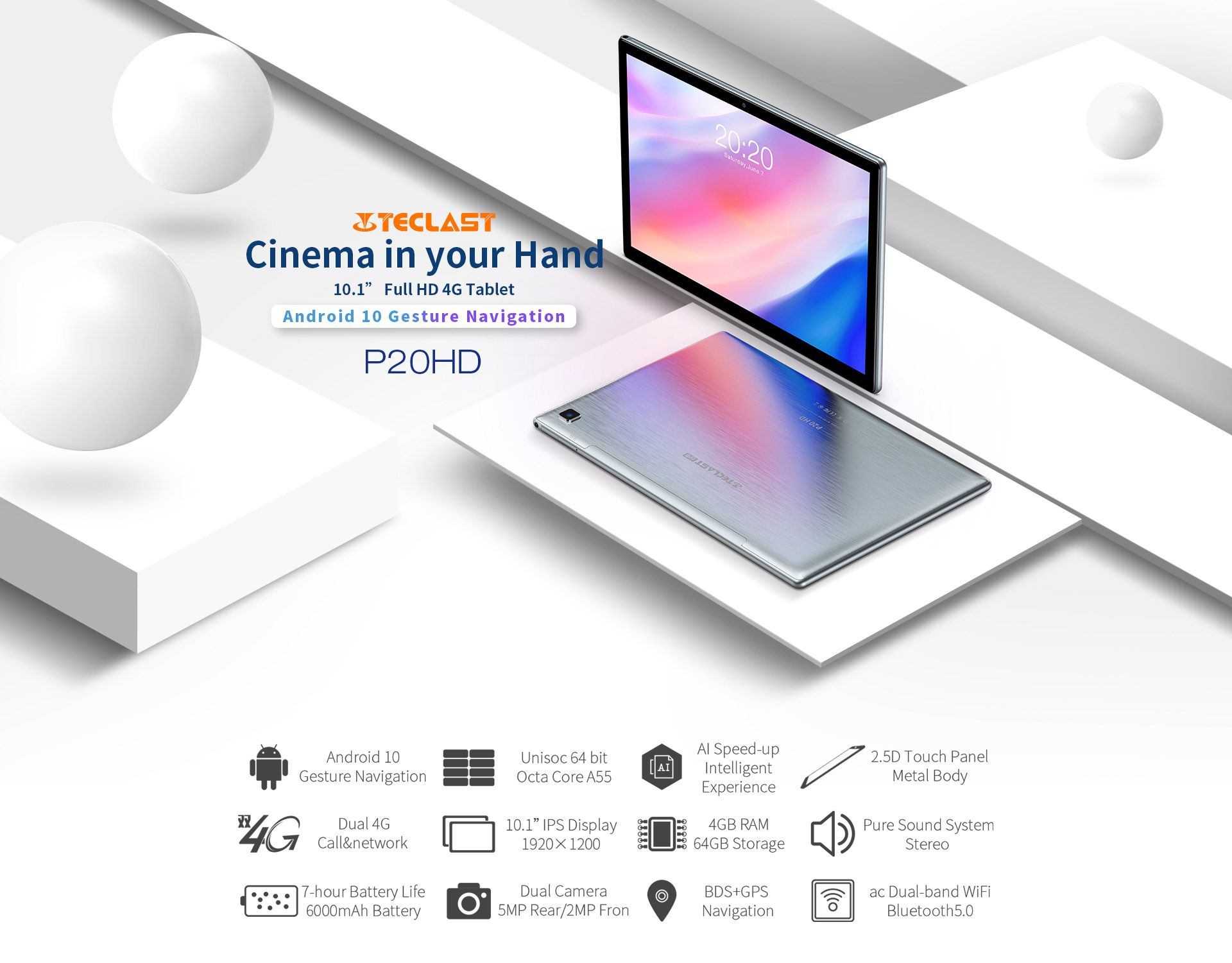 Offerta-TECLAST-P20HD-3 Offerta TECLAST P20HD a 117€, Tablet Cinese 2020 con Android 10