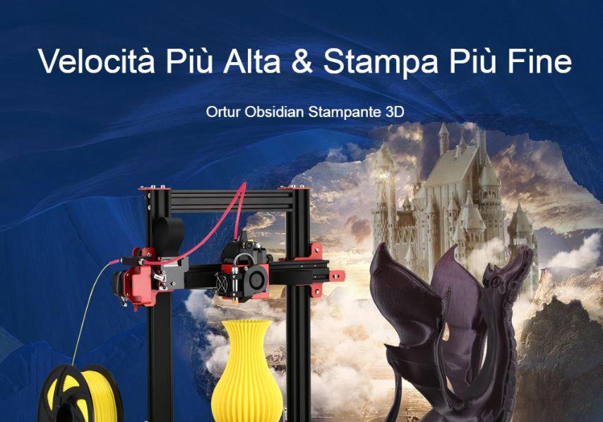 Offerta Ortur Obsidian a 249€, Stampante 3D professionale Economica 2020