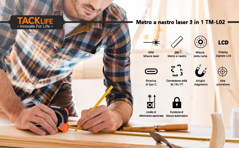 Miglior Metro Laser Con Display 3 in 1: TACKLIFE TM-L02