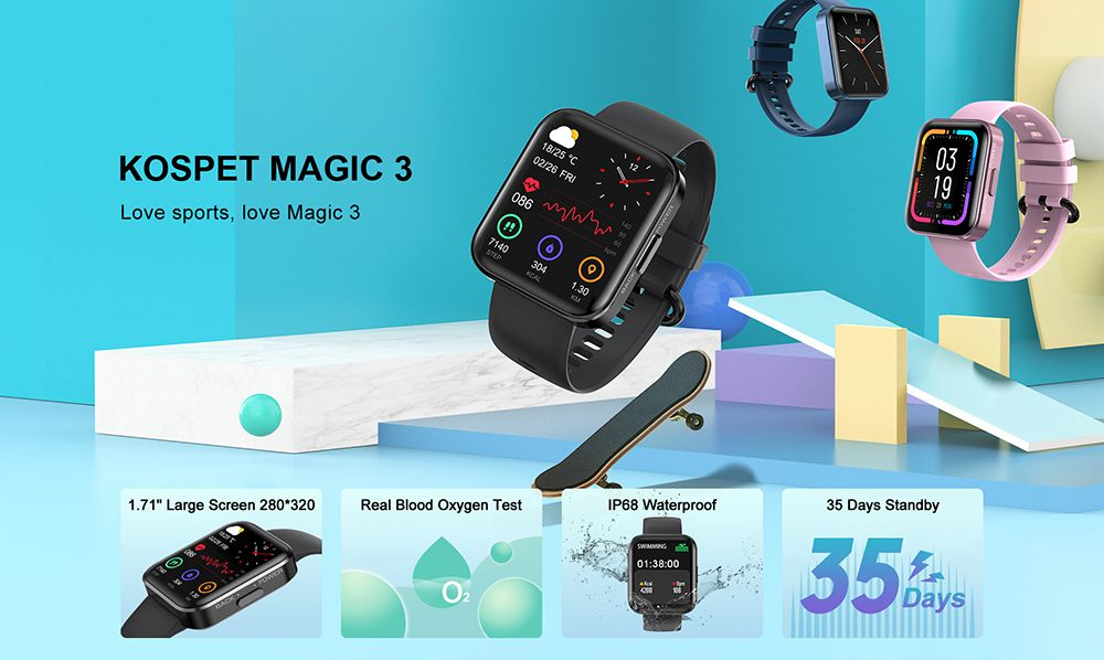 Offerta KOSPET MAGIC 3 a 30€, SmartWatch Sportivo Economico 2021